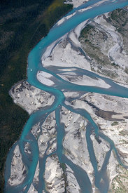 Aerial view of the Silverberry River, Backbone Range, Mackenzie Mountains, Northwest Territories, Canada