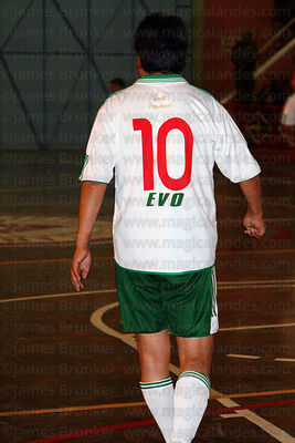 Bolivian president Evo Morales wearing his number 10 shirt at a futsal tournament, La Paz, Bolivia