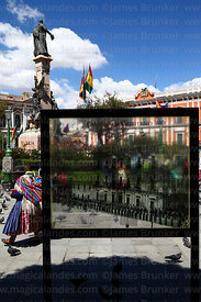 Historic photo of Presidential Palace on glass in front of current building, Plaza Murillo, La Paz, Bolivia,