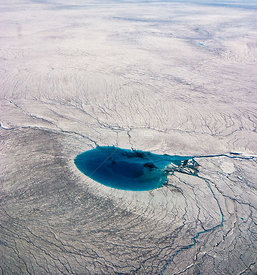 Aerial view of Meltwater lake, Greenland. August 2008.