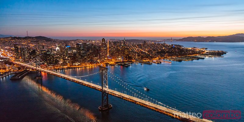 Aerial of downtown district at dusk, San Francisco, California, USA