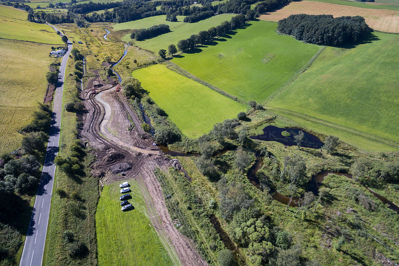 Re-meandering / Flood management work to slow water flow of Eddleston Water. Part of the Eddleston Water Project led by Tweed...