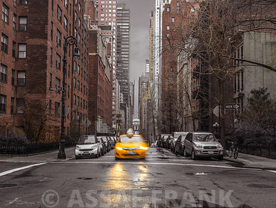 Streets of Manhattan with cars, New York City