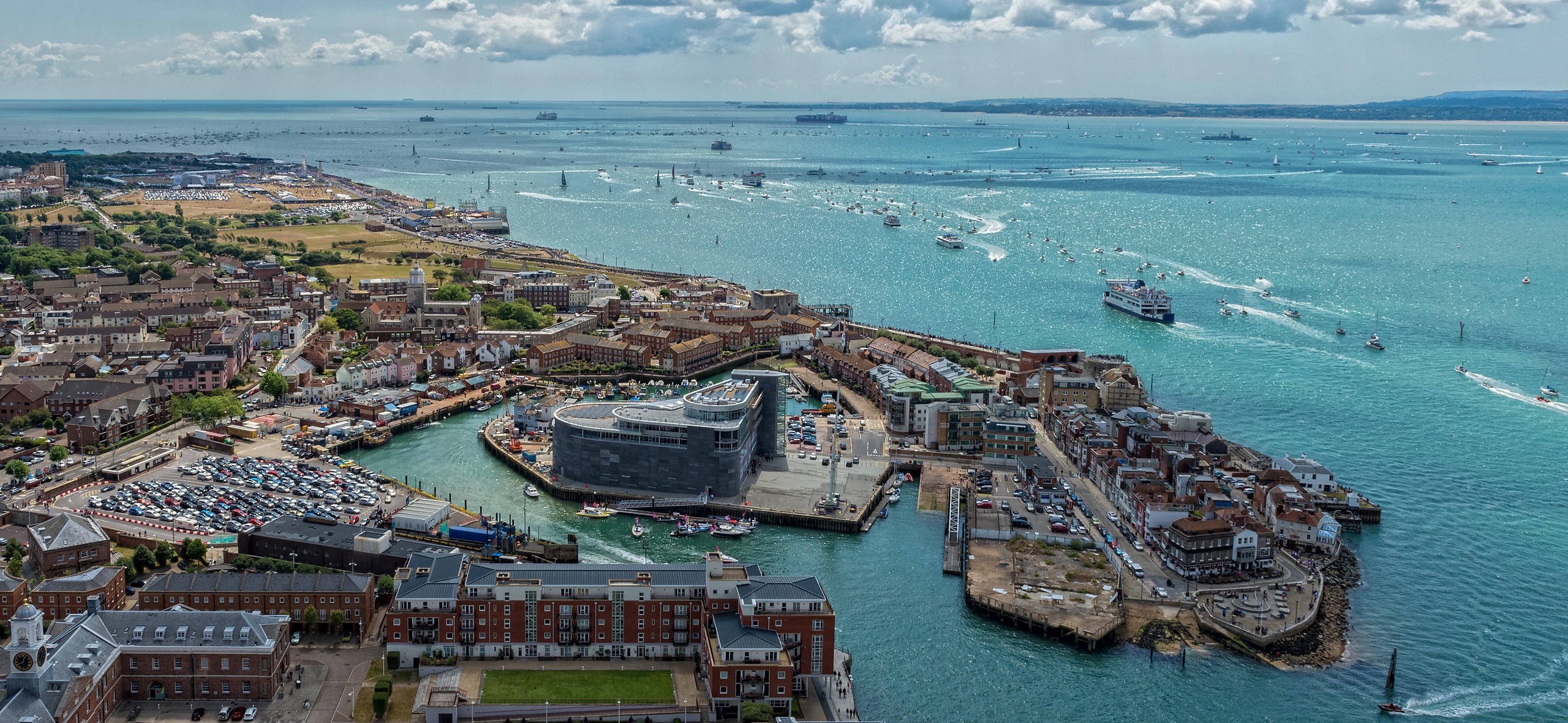 Aerial View of America's Cup Boats at Portsmouth Harbour, England
