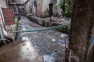 A fouled waterway in the Dharavi slum, Mumbai, India.