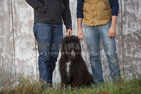 dog sitting at the feet of gay couple