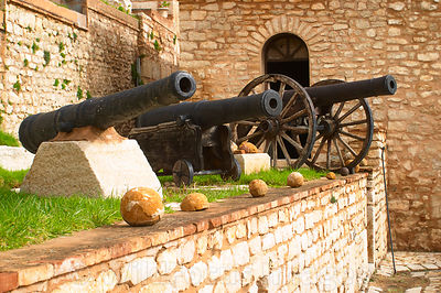 Cannons of various ages in the main grounds of the Kasbah, Le Kef, Tunisia; Landscape