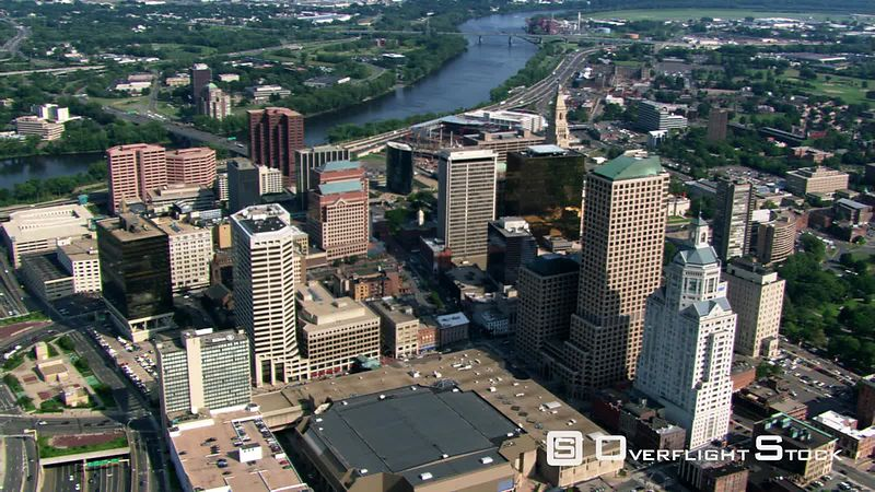 Slow flight over downtown Hartford, CT