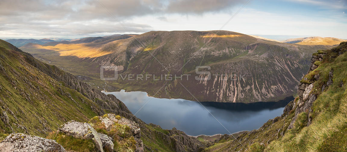 View from Sgor Gaoith over Loch Einich towards Braeriach, Cairngorms National Park, Scotland, UK, August  2016