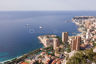 Panoramic view of Montecarlo, the Larvotto Marine Reserve is just in front of the beach covering the small peninsula with the...