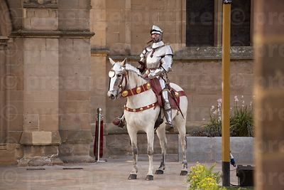 Armoured Escort Knight on a White Horse Outside the Cathedral