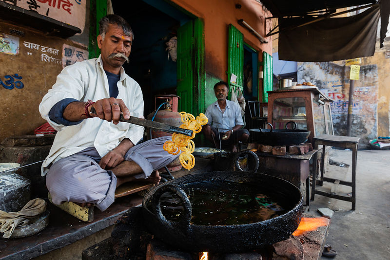 Man Making Sweet Deep-Fried Jalebi