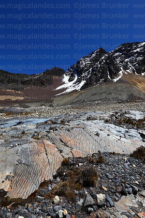 Symmetrical ripple marks in sloping rock layer that used to be under a glacier, Cordillera Real, Bolivia