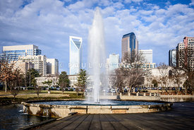 Charlotte Skyline with Marshall Park Fountain