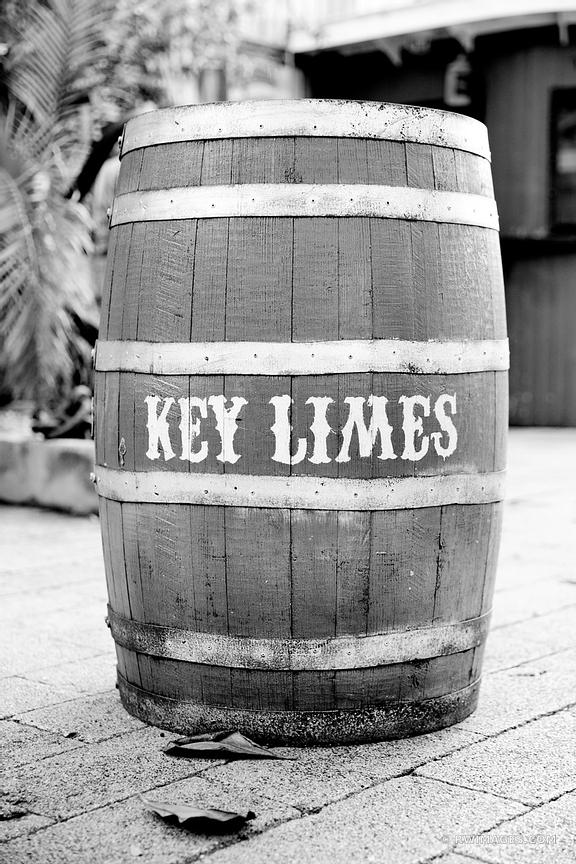 OLD WOODEN BARREL KEY LIMES KEY WEST FLORIDA BLACK AND WHITE VERTICAL