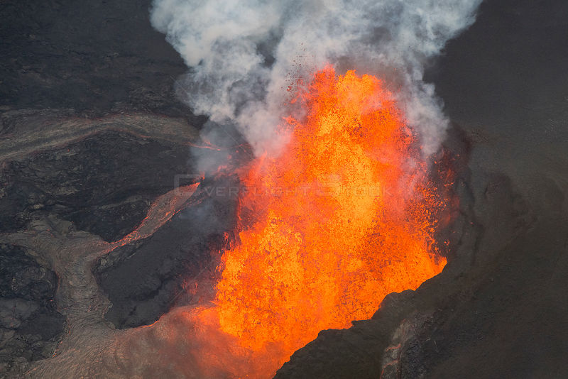 Lava originating from Kilauea Volcano, erupting from fissure 8, near Pahoa, fountaining over 70m high into the air and sendin...