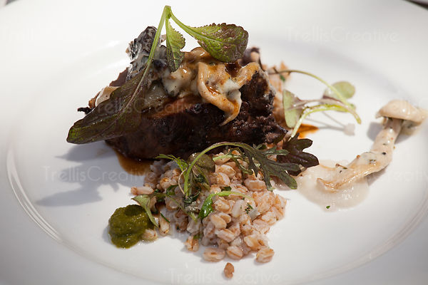 Close-up of an elegant dinner plate with beef and farro