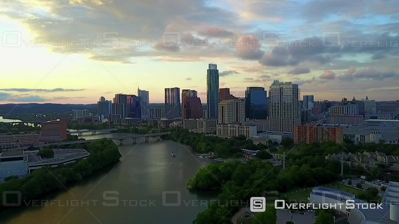 Evening Light on Downtown Austin Texas USA