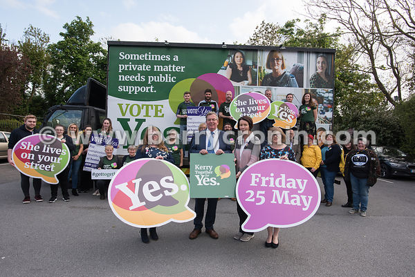 NO REPRO FEES - 11th May, 2018. Pictured at the 'Get Together For Yes' tour in Tralee were speakers from leftL: Paula Dennan,...