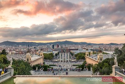 Barcelona city at sunset from Montjuic, Spain