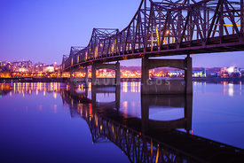 Peoria Illinois Bridge at Night - Murray Baker Bridge