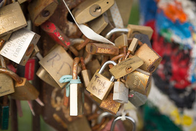 Love locks attached to a gate in some remaining Berlin Wall at the East Side Gallery, Germany