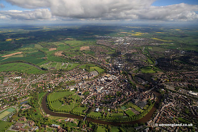 aerial photograph of Shrewsbury  Shropshire England UK