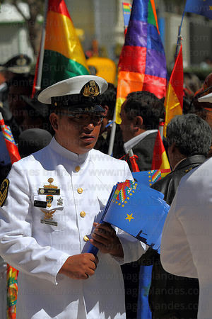 Navy official holding Maritime Vindication flags before the start of official events for Dia del Mar / Day of the Sea , La Pa...