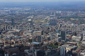 Manchester Cityscape a view of central Manchester showing the citys high rise offices and hotels  Beetham Tower Hilton Hotel ...