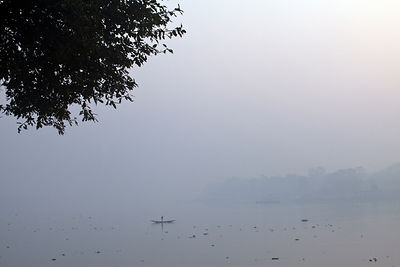 India - Chandannagar - Boats on the Hooghley River at dawn