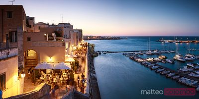 Old town at dusk, Otranto, Salento, Apulia, Italy