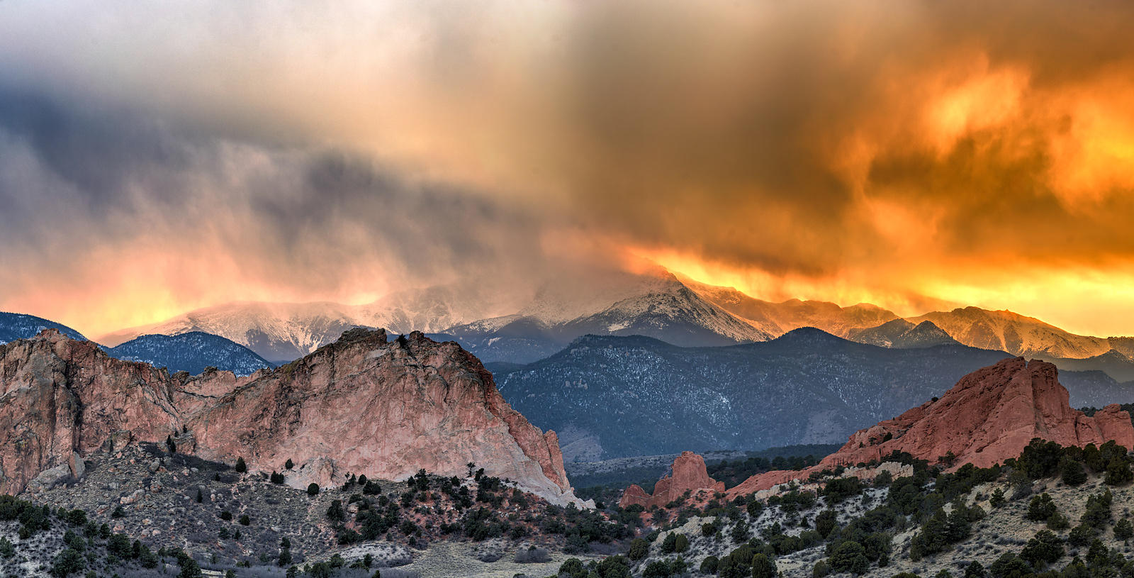 Garden of the Gods Sunset Panorama