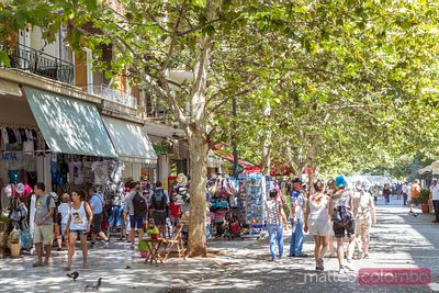People in the streets of Athens in summer, Greece
