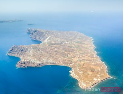 Arial view of Thirasia Santorini Greece