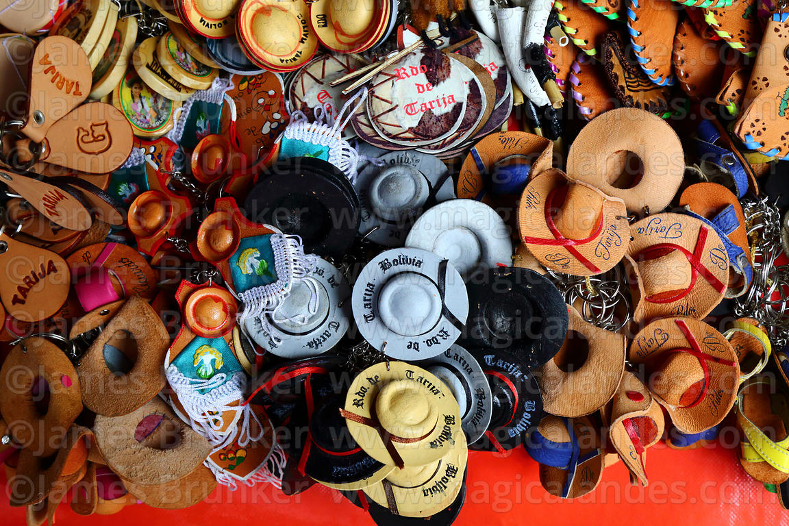 fc151bc1 Keyrings with miniature regional leather hats for sale in souvenir shop,  Tarija, Bolivia