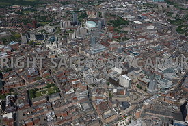 Leeds high level aerial photograph of the commercial and retail centre of the city of leeds
