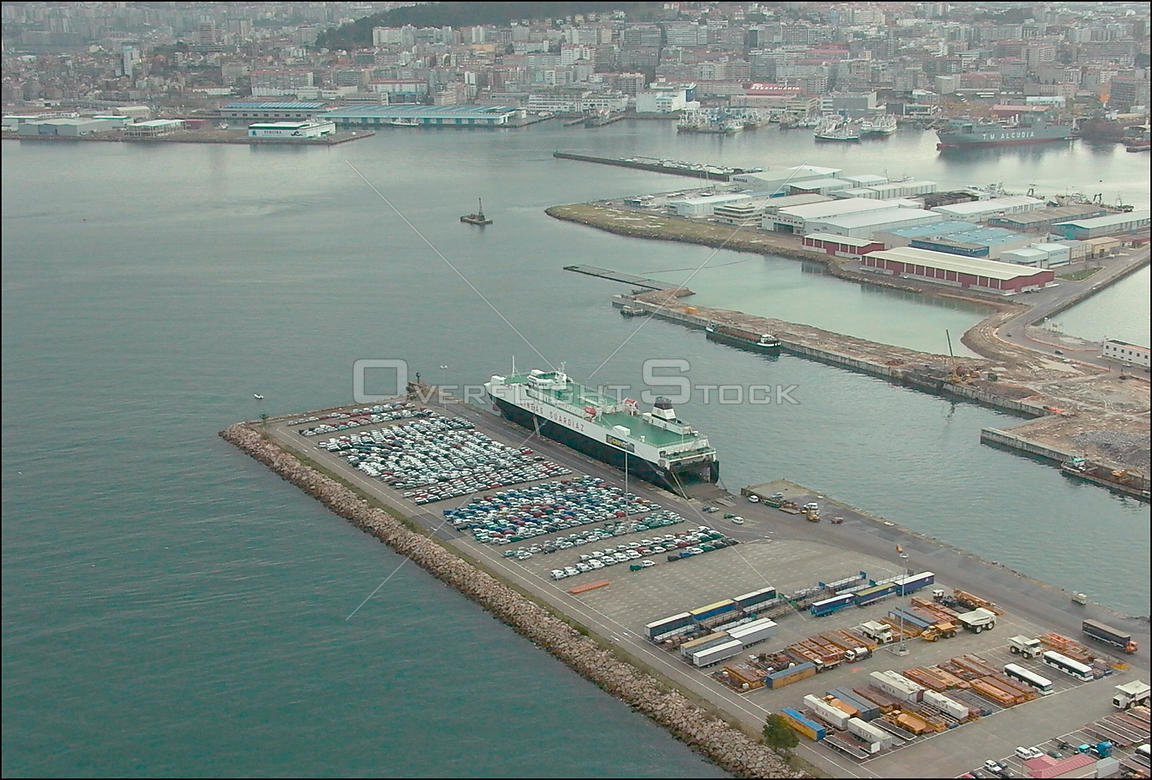 SPAIN Vigo -- 12/2002 -- Roll-on, Roll-off car carrier in the port