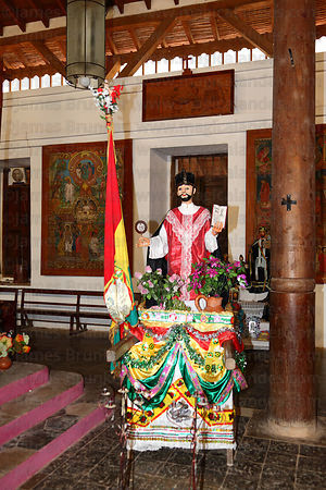 Figure of San Ignacio inside Jesuit church for festival, San Ignacio de Moxos, Bolivia