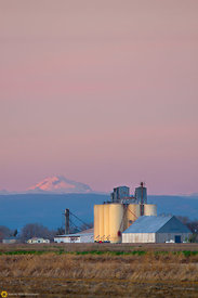 Lassen and Rice Silo at Sunset