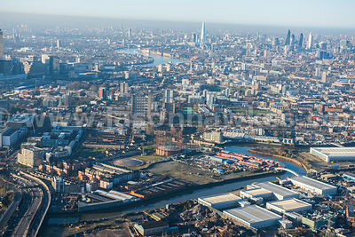 Aerial view of the Lower Lea Valley, London