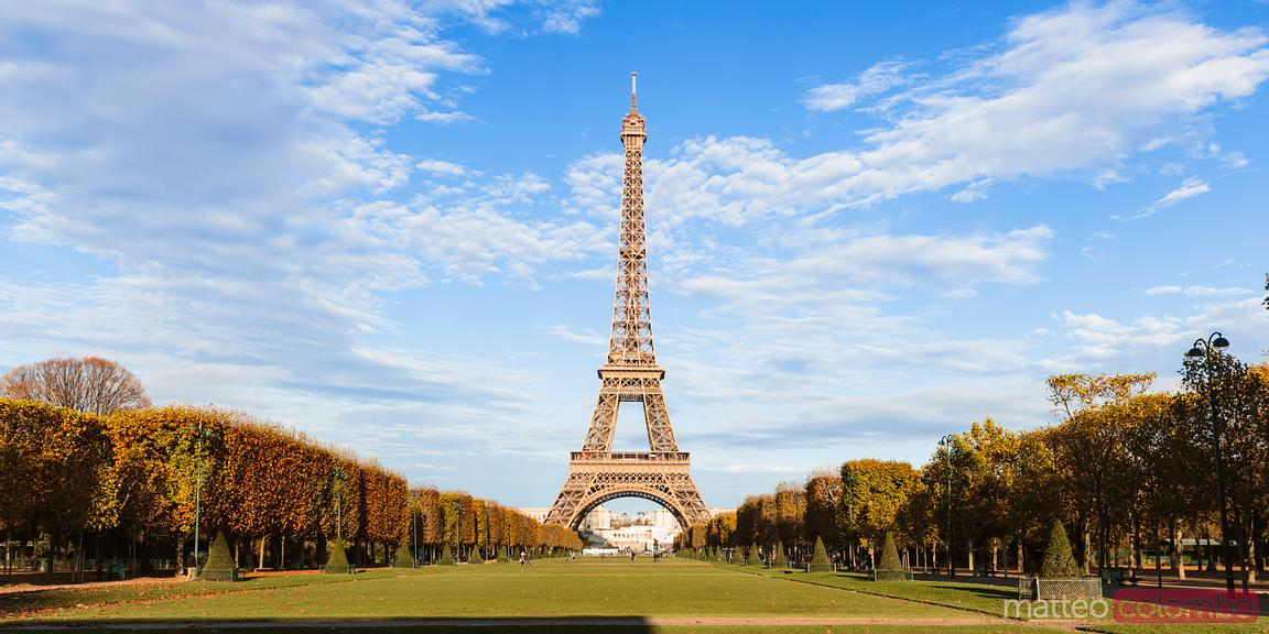 Eiffel tower panoramic in a sunny day, Paris, France