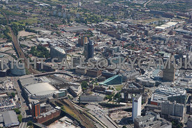 Manchester view of Manchester Arena Victoria Station approach CIS Angel Square and the area of the NOMA regeneration and rede...