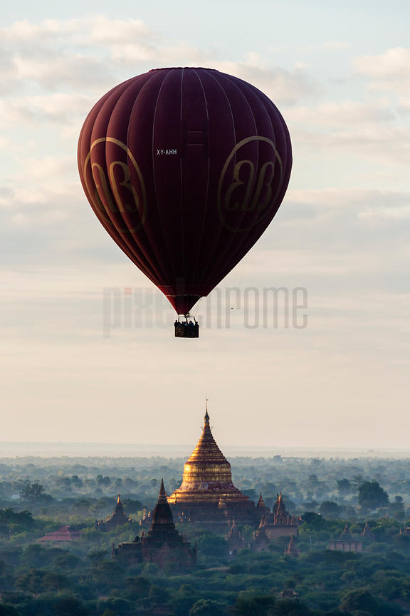 Hot Air Balloon at Dawn over the Pagoda Field at Bagan