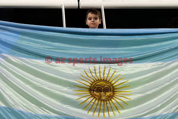 A young boy poses with national flag at the Olympic Stadium.