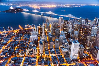 Aerial of downtown, Bay bridge and Oakland, San Francisco, USA