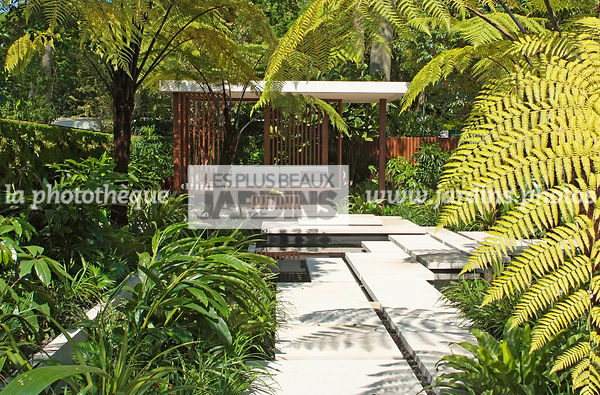 Asiatic garden, Contemporary furniture, Contemporary garden, Exotic garden, Garden construction, Garden furniture, Pavement, ...