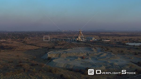 Aerial of a mine and surrounding landscape. Rustenburg North West South Africa