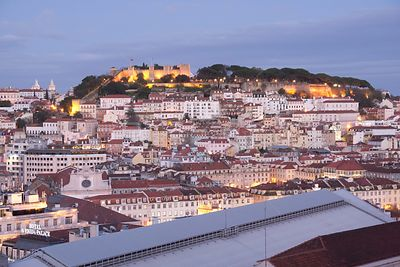 PORTUGAL Lisbon -- Cityscape of Lisbon Portugal showing Baixa, Alfama and Castle St George from the Miradouro de Sao Pedro de...