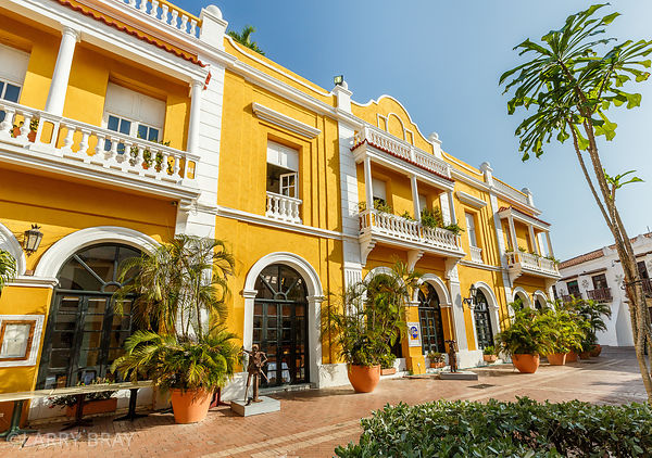 Bright yellow buildings against blue sky in Cartagena,Colombia, South America