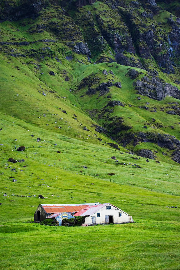 Barn in Field under Mountain, Iceland